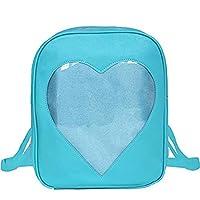 Abuyall Girls Candy Backpacks Transparent Heart Pu Leather Beach School Bag D