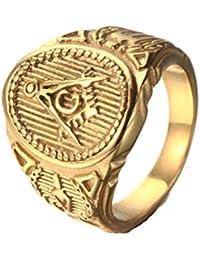 234bd1513642 Beydodo Anillo Acero Inoxidable Hombre Vintage Anillo Oro Hombre Masonico  Anillo Talla 15-30 Anillos