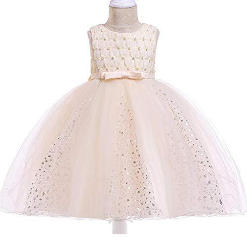 YARUMD Mädchen Kleider Dress Tanzbekleidung Lang Rock mit Tütü Rock Schmetterling Ärmellos für Kostüm Party Hochzeit Prinzessin Kleid 4-15Jahre,Champagne,120