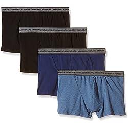 Athena Basic - Boxer - Uni - Lot de 4 - Homme - Multicolore (Bleu/Noir/Bleu/Noir) - XXXX-Large (Taille fabricant: 8)