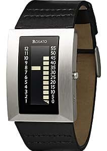 Rosato - Prometheus black brushed R604 - Montre Homme - Quartz - Digitale - Bracelet Cuir Noir