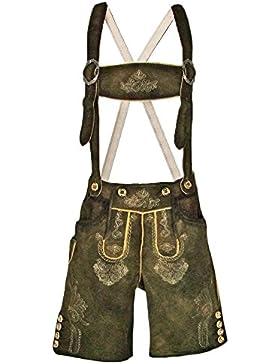 Trachten Lederhose Rafael mit Stegträger - Kurze Lederhose für Herren - Markenware von Lekra in Olivbraun