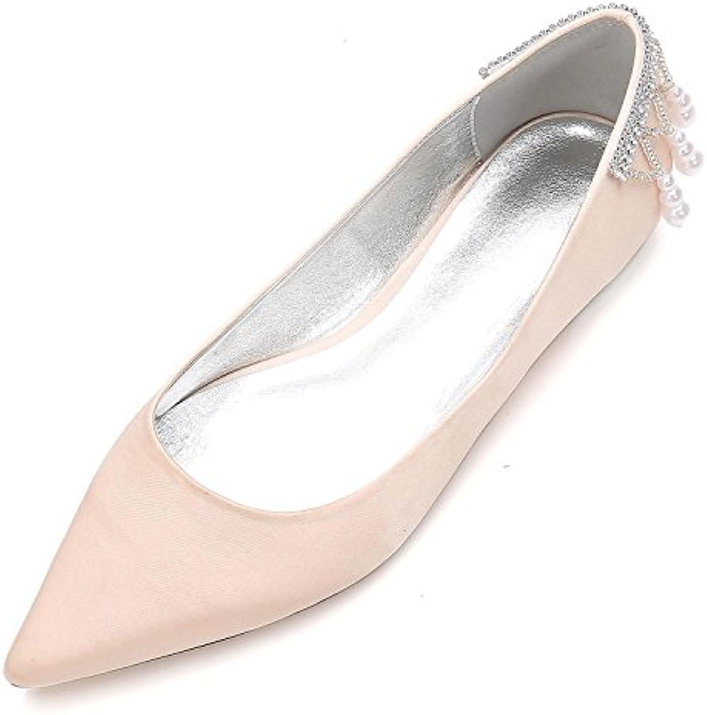 L@YC Zapatos de Boda de Las Mujeres 5047-14 Sandalias Perlas Tobillo Plano Nupcial Corte Zapatos Fiesta -