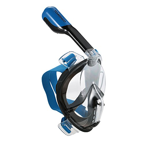 TOMSHOO Easybreath Tauchmaske Vollgesichtsmaske Schnorchelmaske mit Action Kamera Halterung,Anti Fog Schnorchel Maske Seaview 180 degree (Dunkelblau, S/M)