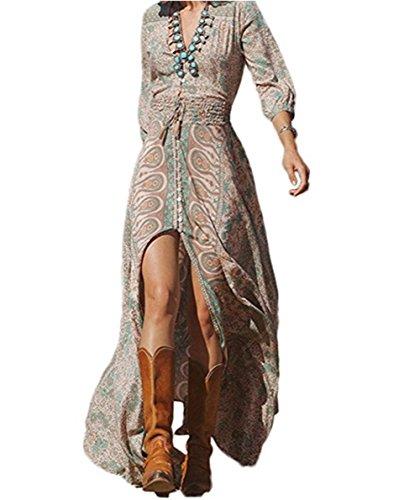 GWEI】Damen Lange Bohemia Strand Kleid Tiefer V-Ausschnitt Drucken Cocktail Party Kleid (Bildfarbe, M)