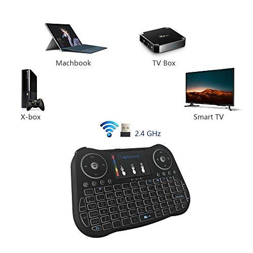 (Noevo 2018)DQiDianZ mini Teclado inalámbrico Teclado retroiluminado con pantalla táctil 2.4GHz en versión española dispone de 7 cambios de color para TV inteligente Android TV BOX PC caja de juegos notebook