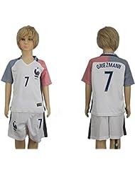 Generic Maillot de football de l'équipe de France 2016-2017 pour enfant avec inscription Antoine Griezmann Blanc