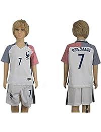 Maillot de football pour enfant France Antoine Griezmann Numéro 7 /Match à l'extérieur Blanc