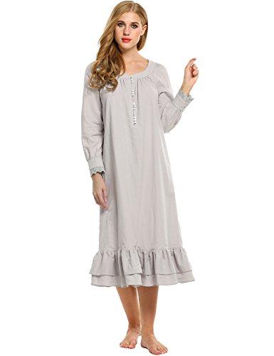 Avidlove Damen Kleid Nachthemd Schlafanzüge Nachtwäsche Negligees Langarm/Kurzarm Kurz Absatz/Lang Absatz Dessous Baumwolle Reine Farbe, C Langarm,grau Lang, L -