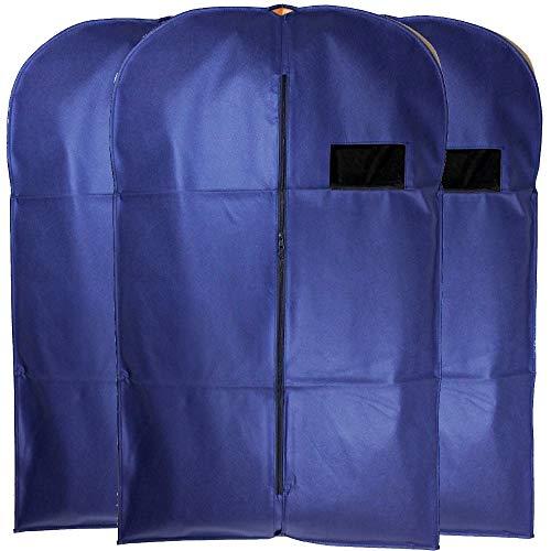 Goal Winners Anzugtasche für Herren, atmungsaktiv, mit Reißverschluss, 101 x 61 cm, Blau, 3 Stück (Tragetaschen Mäntel Für Frauen)