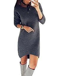 Wenyujh Damen Kleid Herbst Langarm Kleid Pullover Lang Sweatshirt Jumper  Kleid Patch Design mit Streifen 6bba353ea7
