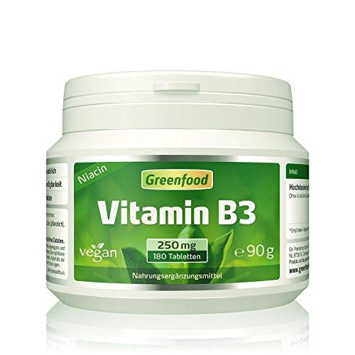 Greenfood Vitamin B3 (Niacin), 250 mg, hochdosiert, 180 Tabletten, vegan – das Glücks-Vitamin, fördert die Durchblutung. OHNE künstliche Zusätze. Ohne Gentechnik. Test