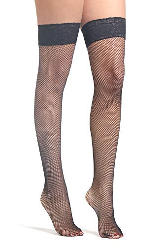 274a6dbc7ee Fishnet Stockings - Women Lace Top Elasticated Silicone Band Nylon Net  Premium Hold Ups - No