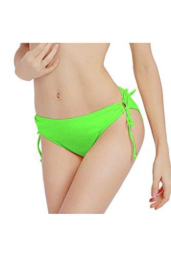 Micosuza Damen Bikinihose mit Raffungen Bikinislip Panty Bikini Hose Badeslip Cheeky Bikini Bottom Grün