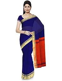 Chhanda Handloom Cotton Women's Saree with Blouse Piece (Blue)
