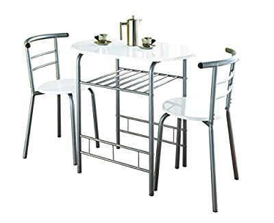 0075-Modern White High Gloss Dining Table and 2 Chairs Set Metal Frame Kitchen