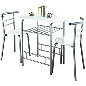 0075 Modern White High Gloss Dining Table And 2 Chairs Set Metal Frame Kitchen