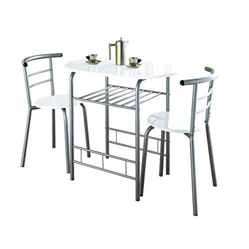 41uFpgWinqL. SS500  - 0075-Modern White High Gloss Dining Table and 2 Chairs Set Metal Frame Kitchen