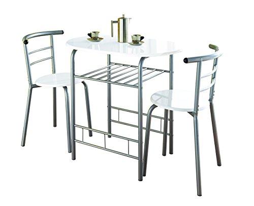 Table de salle à manger et 2 chaises en chêne moderne 0075 - Cadre en métal - Pour la cuisine