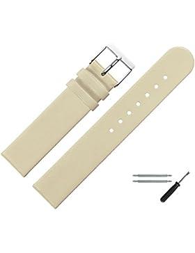 Uhrenarmband 20 mm Leder beige glatt - inkl. Federstege & Werkzeug - Ersatzband für Uhren - Uhrband mit Schlaufe...