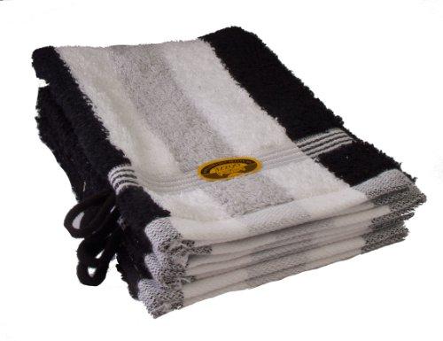 Gözze 555-9100-A1 - Manoplas de baño (4 unidades, 550g/m², algodón, tejido ecológico estándar 100), color blanco, negro y plateado