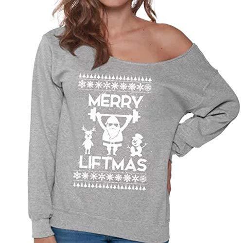 IZHH Weihnachten Damen Tops Mode Frauen Langarm Kalte Schulter Weihnachtsmann Gedruckt Top Oansatz Täglich Sweatshirt Party Bluse Outdoor Pullover(Grau,Small)