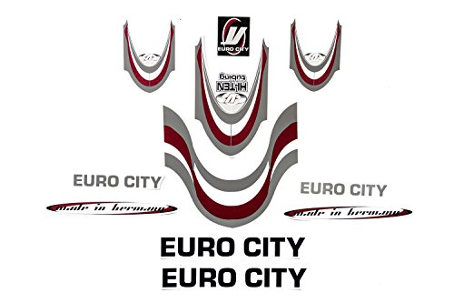 Fahrrad Dekor Satz Aufkleber Rahmen Frame Decal Sticker Euro City Rot Weiß Grau (Fahrrad Rahmen Aufkleber)