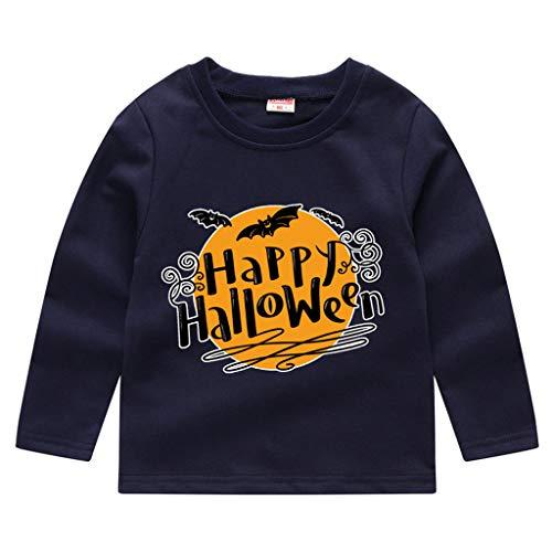 Romantic Kinder Baby Jungen Halloween Kostüme Lange Ärmel Bat/Kürbis/Brief Gedruckt T-Shirt Schickes Kürbis Kostüm Top Sweatshirts für Karneval Party Halloween Fest (Rob Zombie Kostüm Shirt)