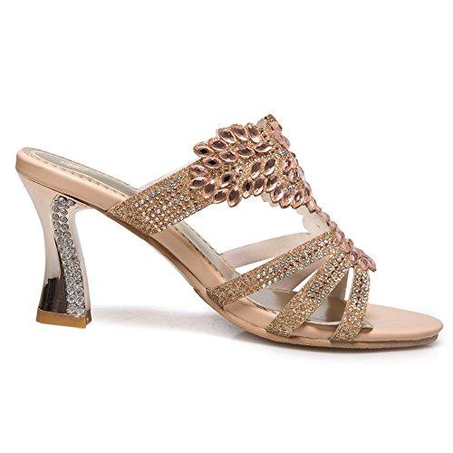 Damen Open Toe Sandalen High-Heel Glitzer Rhinestone Slingback Beige