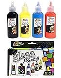 Grafix - Set di 4 colori per vetro - rosso, blu e giallo, nero