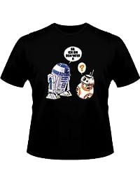 T-Shirt Geek - Parodie BB-8 und R2-D2 von Star Wars - Traduction Allemand - BB ich bin dein vater - T-shirt Homme Noir - Haute Qualité