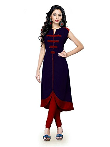 Nine Street Store Women\'s Banglori Silk Embroidered Semi-stitched Kurti - five0-five0_Blue and Orange_Free Size