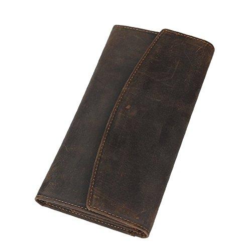 6b08792650 BAIGIO Portafoglio Lungo in Vera Pelle Portamonete da Uomo Donna Porta  Cellulare Carte di Credito Documenti