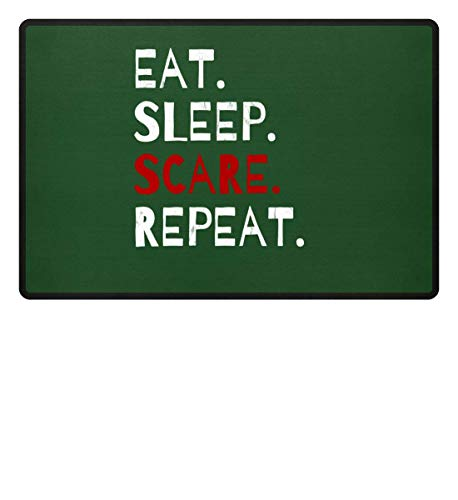 Shirtee Eat Sleep Scare Repeat - Diabolischer Spaß am Erschrecken und Fürchten zu Halloween - Fußmatte