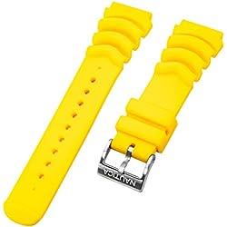 Nautica Bracelet de Montre de plongée pour Homme N18635G A18635G Mega Pro Diver NMX 650 Jaune 22 mm