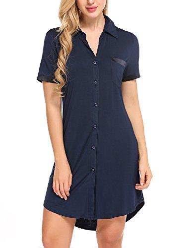 Avidlove Damen Viktorianisch Nachthemd T-shirt Luxus Nachtwäsche- Gr. L, Kurzarm 1: Marineblau