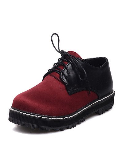 ZQ Scarpe Donna - Stringate - Tempo libero / Ufficio e lavoro / Casual - Comoda / Punta arrotondata / Chiusa - Piatto - Finta pelle -Nero / , red-us10.5 / eu42 / uk8.5 / cn43 , red-us10.5 / eu42 / uk8 blue-us7.5 / eu38 / uk5.5 / cn38