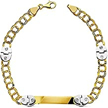 Esclava oro 18k bicolor húngara 19.5cm. detalles bisagra [AB2277GR] - Personalizable - GRABACIÓN INCLUIDA EN EL PRECIO