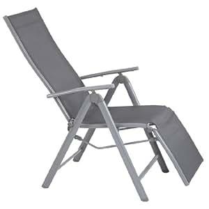 Ultranatura Fauteuil de détente à accotoirs en aluminium, gamme Korfu - 73x60x112cm - Gris