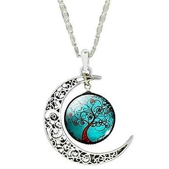 Damen Hals-Kette mit Anhänger Lebensbaum 20mm Glascabochon Mond silber handmade Schmuckphantasien 45cm Länge kurz Baum Bäumchen türkis