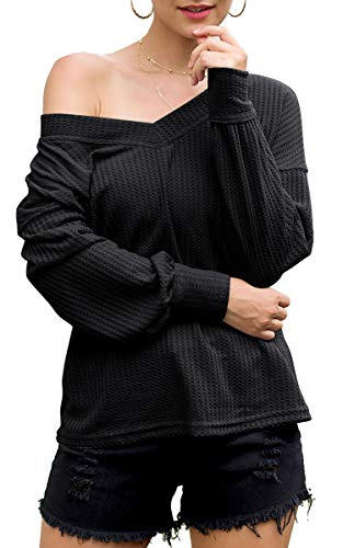 Spec4Y Damen Top V-Ausschnitt Schulterfrei Pullover Langarm Einfarbig Casual Oberteile Oversize Sweatshirt Herbst Winter Schwarz L -