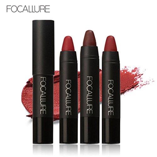 Yogogo - 3pcs Waterproof Rouge à lèvres - Velours rouge à longue durée Crayon de couleur mat tableau à lèvres Ensemble de crayons A