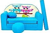 Minisofa Kindersofa Kindercouch Schlafsofa Sofabett Mini Couch mit Kissen und Sitzkissen BLAU EULEN
