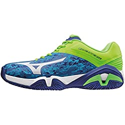 Mizuno Wave Intense Tour CC, Zapatillas de Tenis para Hombre, Azul (Bluecamouflage/White/Greengecko), 7.5 UK
