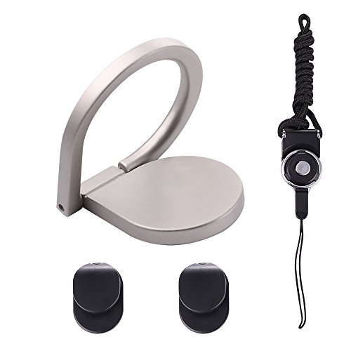 Phone Ring Holder Lanyard Neck Strap, Bandmax 360°Rotation Water Droplets Design Universal Smartphones Grip Kickstand with Detachable Long Neck Lanyard Straps and 2 Base Mounts for Any Phones/Tablets/Phone Cases (Silver)