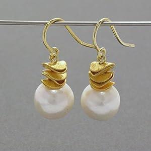 Ohrhänger Zuchtperle weiß mit vergold. Element