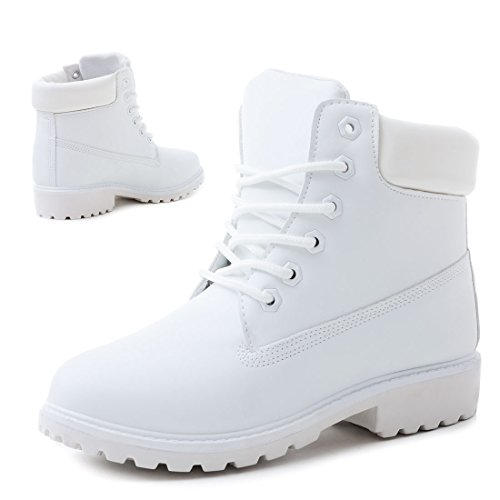 Trendige Unisex Damen Herren Schnür Stiefeletten Stiefel Worker Boots - auch in Übergrößen Weiß Chicago