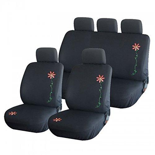 Sitzbezüge, Auto schwarz mit Stickerei Blume-1165 - Auto-blumen-sitzbezüge