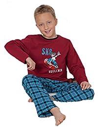 Warmer Knaben-Schlafanzug mit garngefärbter karierter Flanellhose, Skater-Aufdruck Grössen 104 bis 164