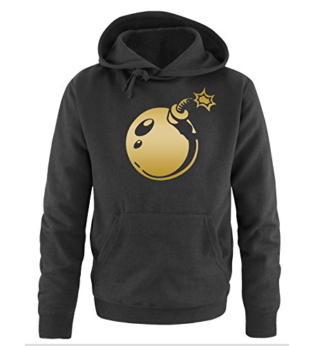 Comedy Shirts - BOMB - Uomo Hoodie cappuccio sweater - taglia S-XXL different colors nero / oro